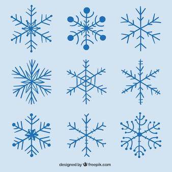 Sélection des flocons de neige dessinées à la main