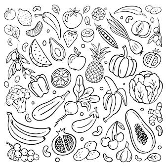 Sélection de fruits et légumes dessinés à la main