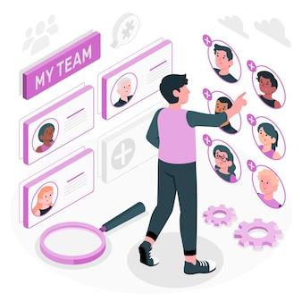 Sélection de l'illustration du concept d'équipe