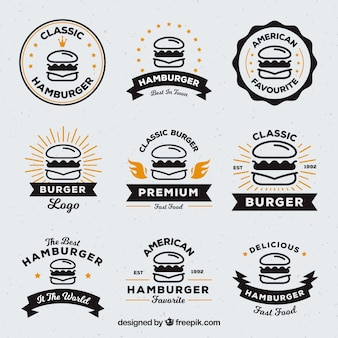 Sélection de neuf logos de hamburger avec des détails en orange