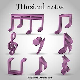 Sélection des notes de musique 3d violet