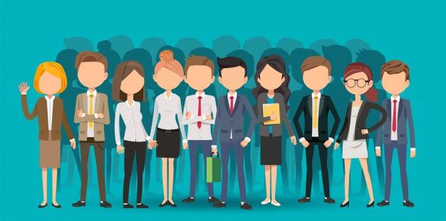 Sélection de personnel créant des affaires en style cartoon