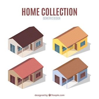 Sélection de quatre maisons dans la conception isométrique