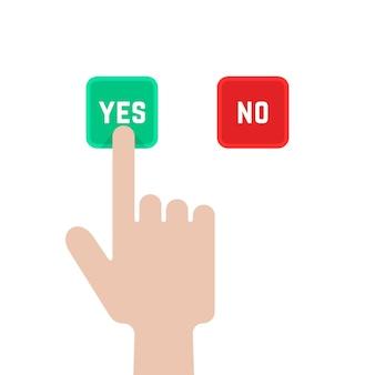 Sélectionnez des boutons comme dilemme. concept de sondage, correct, geste du bras, suggestion, évaluation, accepter vrai, consentement, assentiment, élection. illustration vectorielle de style plat design graphique sur fond blanc