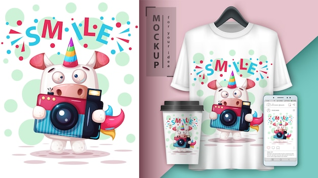 Selfie affiche de licorne et merchandising