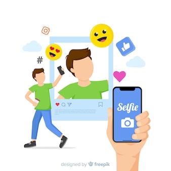 Selfie Concept Avec Application Vecteur gratuit
