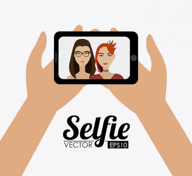 Selfie design, illustration vectorielle