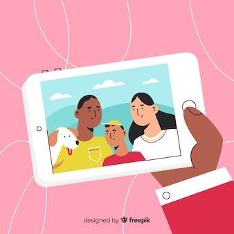 Selfie familiale dessinée à la main