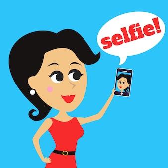 Selfie sur fond bleu