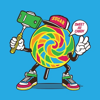 Selfie lollypop candy character