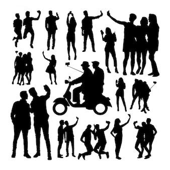Selfie people silhouettes