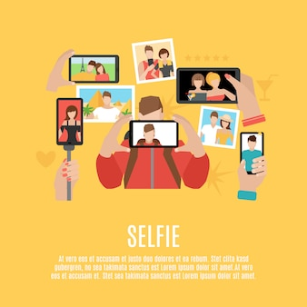 Selfie photos affiche de composition icônes plat