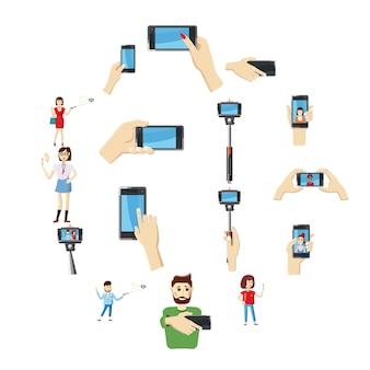 Selfie set d'icônes, style cartoon