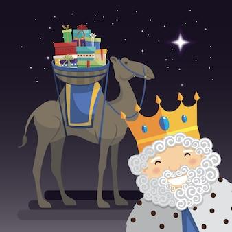Selfie des trois rois avec le roi melchior, un chameau et des cadeaux la nuit