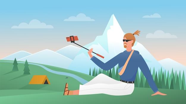 Selfie en voyage, personnage de blogueur itinérant de dessin animé avec bâton selfie faisant photo pour blog