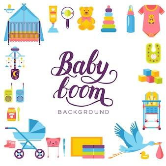 Semaine mondiale de l'allaitement maternel et éléments enfants concept de jeu d'icônes plat. conception d'illustrations pour enfants.