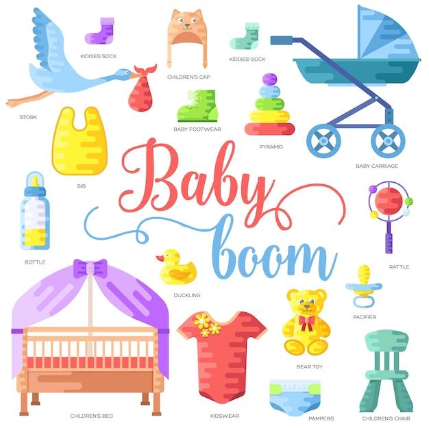Semaine mondiale de l'allaitement maternel et éléments enfants concept de jeu d'icônes plat