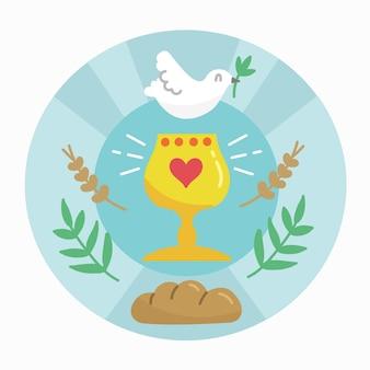 Semaine sainte avec colombe et pain