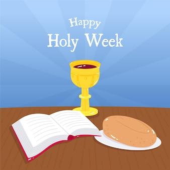Semaine sainte dessiné à la main et gobelet doré