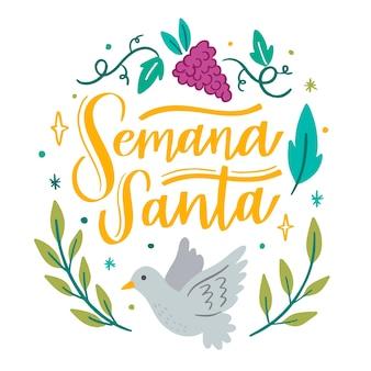 Semana santa avec colombe et raisin