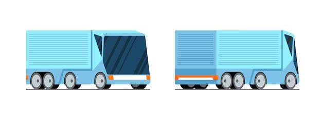 Semi-remorque de camion de fret moderne isolé sur fond blanc suivi de transport d'affaires futuriste
