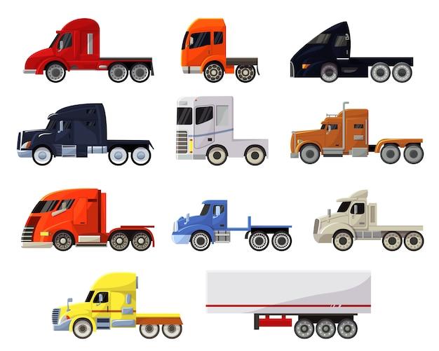 Semi-remorque camion vecteur véhicule transport livraison fret expédition illustration transportant ensemble de camionnage fret camion semi-camion transport isolé jeu d'icônes