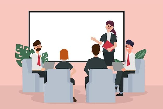 Séminaire de gens d'affaires avec réunion d'affaires de travail d'équipe professionnel et de bureau