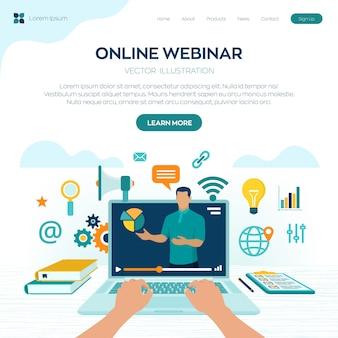 Séminaire en ligne. encadrement. page de destination e-learning