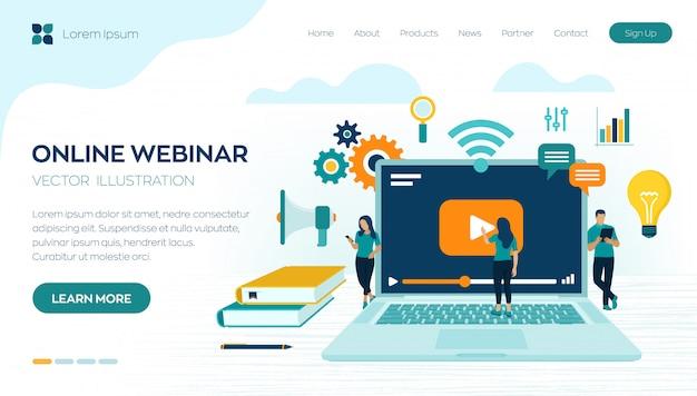 Séminaire en ligne. modèle de page de destination e-learning.