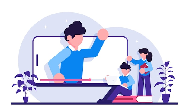 Séminaire web éducatif, cours, service professionnel d'enseignant personnel. webinaire, classe numérique, métaphores d'enseignement en ligne.