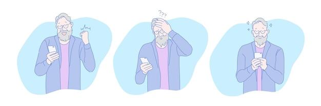 Senior âgé jouant à un jeu de jeu en ligne sur téléphone