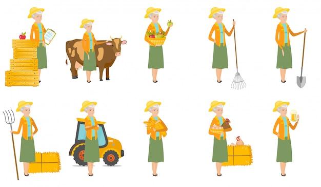 Senior agriculteur caucasien.