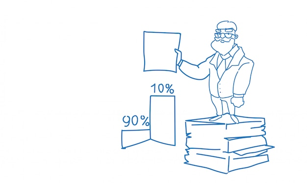 Senior homme d'affaires empilé document document paperasserie tenir contrat signe esquisse doodle