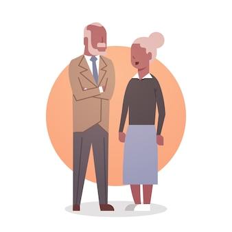 Senior homme et femme afro-américain couple grand-mère et grand-père cheveux gris icône pleine longueur