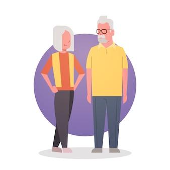 Senior homme et femme couple grand-mère et grand-père cheveux gris icône pleine longueur