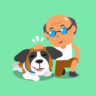 Senior homme et son chien