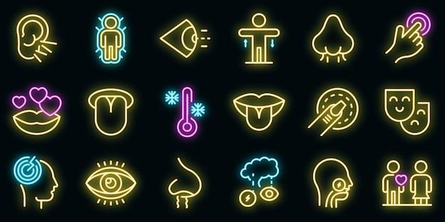 Senses icons set vector néon