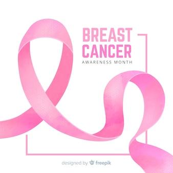 Sensibilisation au cancer du sein avec aquarelle de ruban