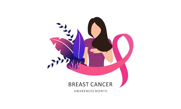 Sensibilisation au cancer du sein avec logo ruban et illustration