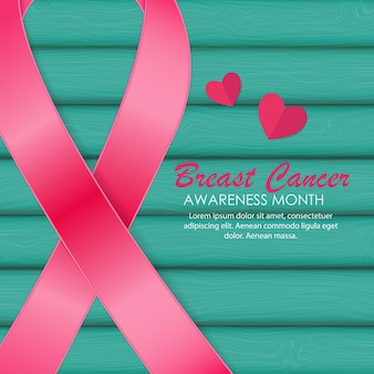 Sensibilisation au cancer du sein ruban rose illustration vectorielle eps10