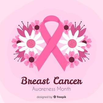 Sensibilisation au cancer du sein de style dessiné à la main avec ruban