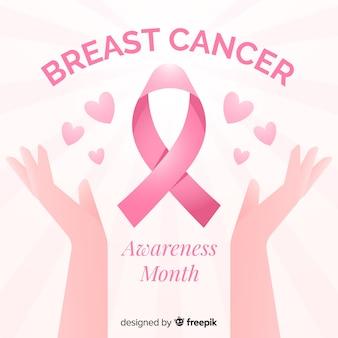 Sensibilisation au cancer du sein avec le style plat ruban