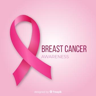 Sensibilisation au cancer du sein de style plat avec ruban