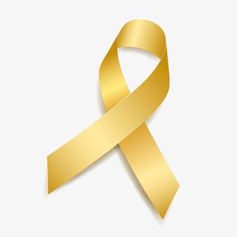 Sensibilisation au ruban d'or cancer infantile, neuroblastome, rétinoblastome. isolé sur fond blanc. illustration vectorielle.