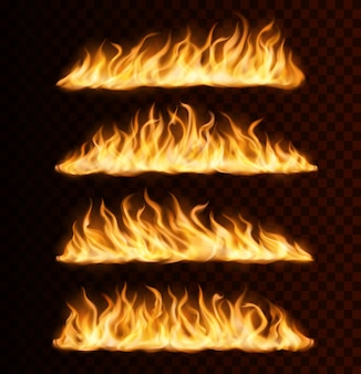 Sentiers de flammes de feu réalistes, brûlant des langues vectorielles sur fond transparent. effet de flammes déchaînées, bordures évasées brillantes et brillantes, traces ou lignes d'enfer flamboyant, ensemble d'éléments de conception 3d isolés