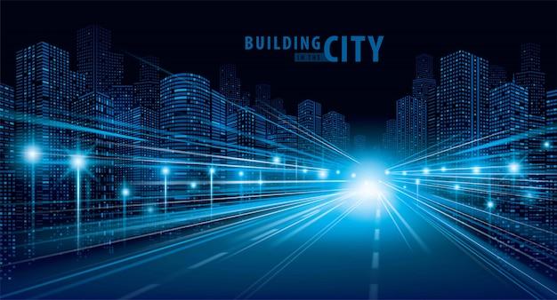 Sentiers de lumière bleue sur la route et le vecteur de bâtiment moderne