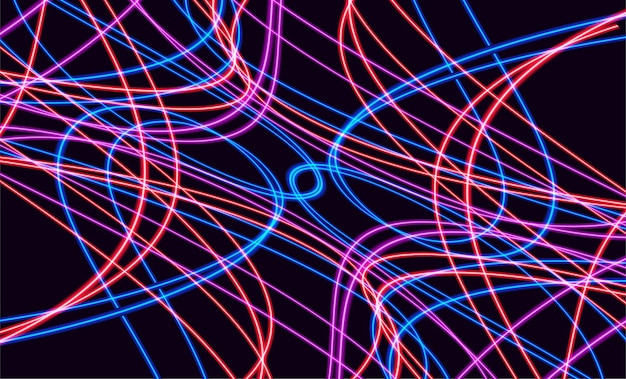 Sentiers lumineux colorés abstraits avec effet de flou de mouvement. fond de vitesse. conception de concept léger. illustration vectorielle
