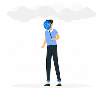 Sentiment d'illustration de concept bleu