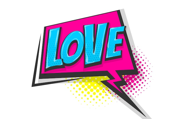 Sentiments d'amour wow effets d'images radiales dessinées à la main nuage de texte de dialogue comique