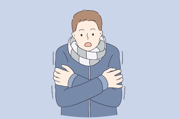 Sentir le concept froid et gelé